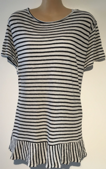 BLOOMING MARVELLOUS WHITE STRIPED LAYERED TSHIRT NURSING MATERNITY TOP SIZE XL 16-18